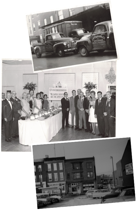 Black and white historic images of the early Feeser's Food Distributors employees.