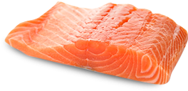 A filet of wild caught sockeye salmon