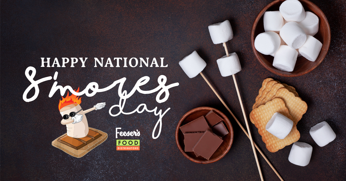 Marshmallows, graham crackers, and chocolate for national smores day