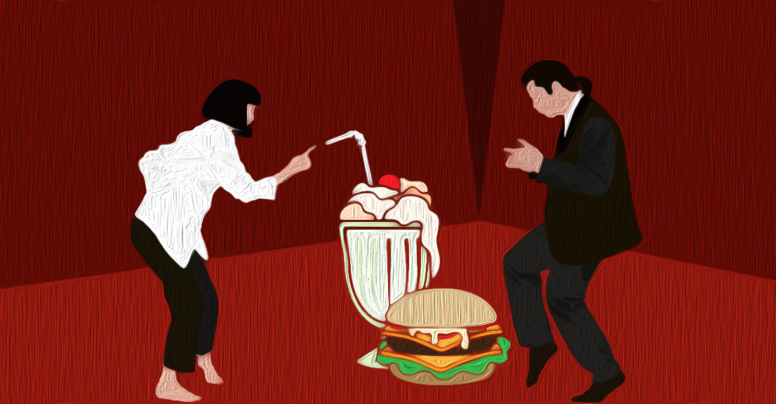 A Pulp Fiction movie scene with a milkshake and cheeseburger